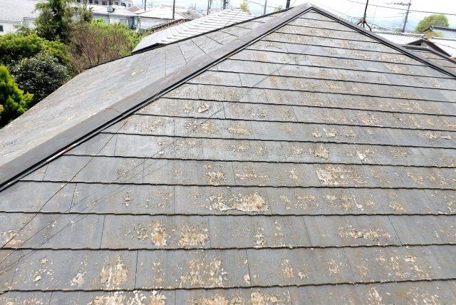 剥離して傷んだスレート屋根